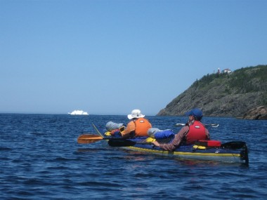 THIS SUMMER'S NEWFOUNDLAND GROUP HEAD TOWARDS AN ICEBERG IN THE BAY OF EXPLOITS.