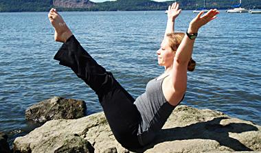 Lauri in yoga pose.